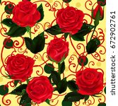 mothers day. rose flowers.... | Shutterstock .eps vector #672902761