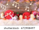 gifts and notes on wooden... | Shutterstock . vector #672908497
