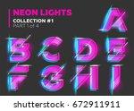 vector neon character typeset.... | Shutterstock .eps vector #672911911