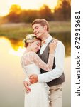 portraits of a newly married... | Shutterstock . vector #672913681