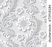 elegant 3d seamless floral... | Shutterstock .eps vector #672918184