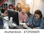 start up people working on... | Shutterstock . vector #672920605