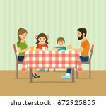 happy  family sitting at the ... | Shutterstock .eps vector #672925855