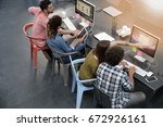upper view of start up people... | Shutterstock . vector #672926161
