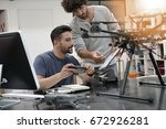 engineer and technician working ... | Shutterstock . vector #672926281