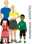 Raster version illustration of Family number 7 Isolated. Foster care or Adoption. - stock photo