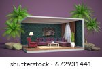 interior living room. 3d... | Shutterstock . vector #672931441