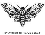 deaths head hawk moth vector... | Shutterstock .eps vector #672931615
