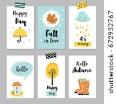 cute autumn cards  posters ... | Shutterstock .eps vector #672932767