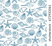 vector blue line seamless... | Shutterstock .eps vector #672933361