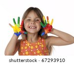 cute female child with finger... | Shutterstock . vector #67293910