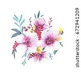 watercolor flower composition | Shutterstock . vector #672941209