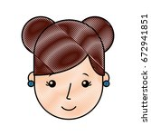 cute young girl head avatar... | Shutterstock .eps vector #672941851