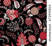 seamless pattern with fantasy... | Shutterstock .eps vector #672945814