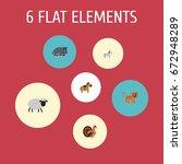 flat icons hippopotamus ... | Shutterstock .eps vector #672948289
