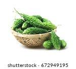 organic bitter melon  bitter... | Shutterstock . vector #672949195