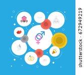 flat icons sparkler  engagement ... | Shutterstock .eps vector #672949219