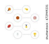 flat icons table tennis  reward ... | Shutterstock .eps vector #672949231