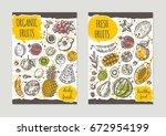 fresh organic fruits brochure... | Shutterstock .eps vector #672954199