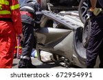 rescue firefighters and...   Shutterstock . vector #672954991