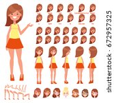 front  side  back view animated ... | Shutterstock .eps vector #672957325