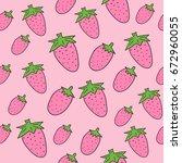 hand drawn  strawberry seamless ... | Shutterstock .eps vector #672960055