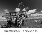 Landscape With  Old Wooden Car...