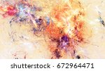 bright artistic shiny splashes. ... | Shutterstock . vector #672964471