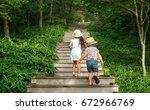 mountain climbing child | Shutterstock . vector #672966769