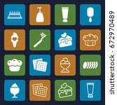 cream icons set. set of 16... | Shutterstock .eps vector #672970489