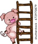 cute pig with ladder | Shutterstock .eps vector #672970879