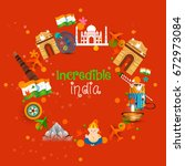 happy independence day india ... | Shutterstock .eps vector #672973084