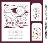 baby shower invitation template ... | Shutterstock .eps vector #672978889
