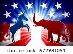 an elephant and donkey in... | Shutterstock .eps vector #672981091