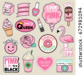 set of fashion patches  cute... | Shutterstock .eps vector #672981094