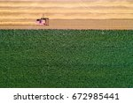 top view of combine harvester...   Shutterstock . vector #672985441