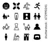 men icons set. set of 16 men... | Shutterstock .eps vector #672990241