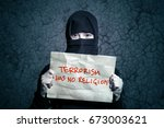 muslim girl in black hijab... | Shutterstock . vector #673003621