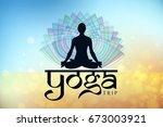 background for yoga class  yoga ... | Shutterstock .eps vector #673003921
