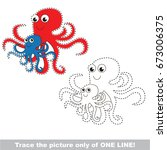 funny octopus mom and baby to... | Shutterstock .eps vector #673006375