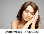 fresh girl with closed eyes... | Shutterstock . vector #67300822