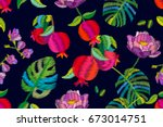 blooming pomegranate garden....   Shutterstock .eps vector #673014751