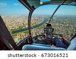 helicopter cockpit inside the... | Shutterstock . vector #673016521