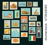 stamps with historical... | Shutterstock .eps vector #673018585
