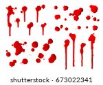 collection of dripping red... | Shutterstock . vector #673022341
