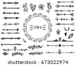 set of creative boho style... | Shutterstock .eps vector #673022974