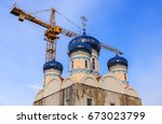 Small photo of The Temple of Saint Righteous Warrior Admiral Fyodor Ushakov is being constructed in South Butovo, Moscow, horizontal photo.