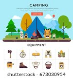 camping colored banner set with ... | Shutterstock .eps vector #673030954
