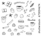 set of doodle chocolate and... | Shutterstock .eps vector #673034674