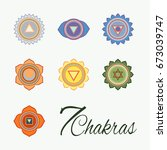 set of seven chakras icons.yoga ... | Shutterstock .eps vector #673039747